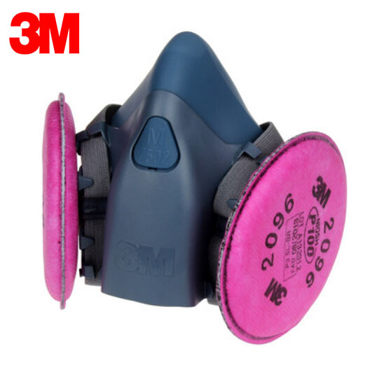 3M 7502+2096 Half Facepiece Mask Reusable Respirator P100 Respiratory Protection with Nuisance Level Acid Gas LT112<br>