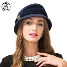 FS Vintage Sapphire Blue 100% Wool Felt Fedora Winter For Women Fall Hat Short Brim Cloche Hats Cap Chapeu Feminino Fedoras
