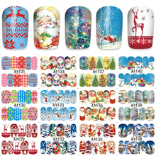 ZKO 48 Sheets Christmas Mixed Decals Nail Art Water Transfer Stickers Full Wraps Santa/Snowflake Nail Tips DIY A1129-1176(China)