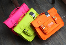H1853  Vintage Retro solid Neon Women Fluorescence Candy doctor satchel Crossbody Messenger 750g
