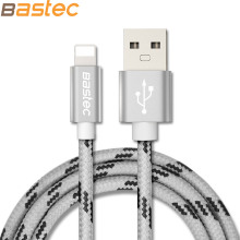 For iPhone 7 6 5 iOS 10 , Bastec Metal Plug Thread Braided Sync Data Charging Phone USB Cable for iPhone 7 6 5 4 4s iPad  Air 2