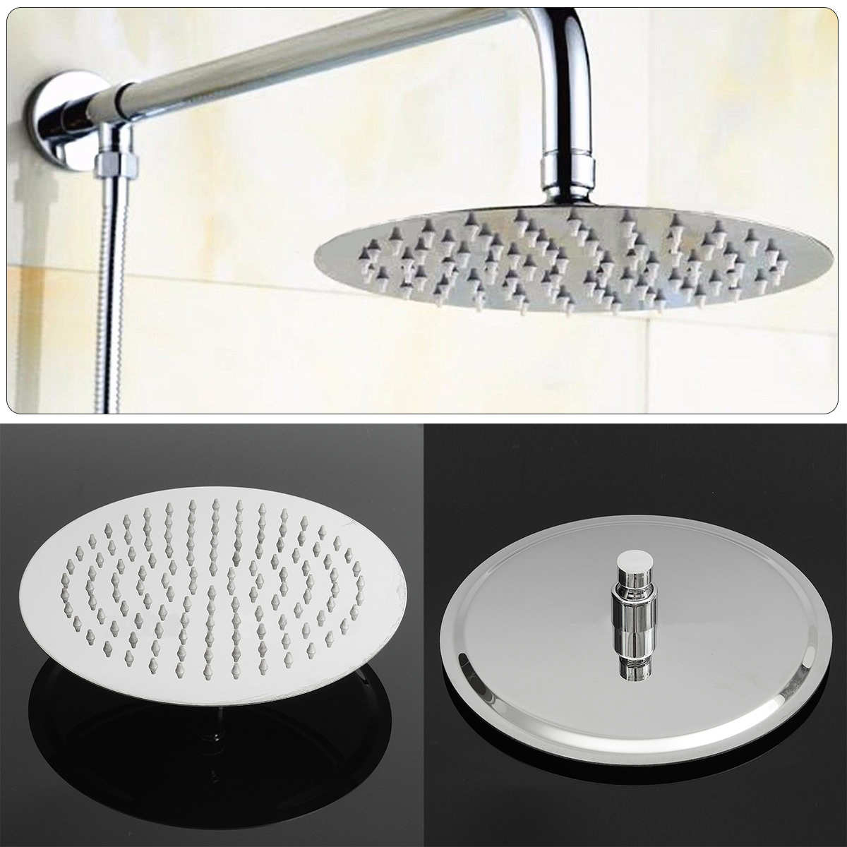High Quality 10 Inch Shower Sprayer Ultra-thin Rainfall Shower Head Bathroom Tools Accessory Stainless Steel Round Showerhead