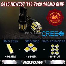 4x 2016 Newest Super Bright Imported Chip 7014 7020 10SMD T10 W5W Xenon LED Interior Dome Map License Plate Parking Brake Light