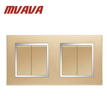 MVAVA Free Shipping Double 2 Gang Wall Switch Luxury Champagne Gold Electrical Push Button Light Switch Chromed Frame PC Panel