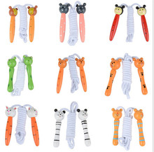 100 pcs jump rope skipping Cartoon wooden colourful skip promotional Children gifts(China)