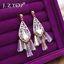 Hot Sale Earrings Female Crystal Water Droplets Tassel Earrings Long Section Sweet Romantic Beach Vacation Wind Earrings