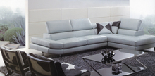 grey color high-grade leather sofa 2015 new living room sofa sectional headrest adjustable shipping to sea port(China)