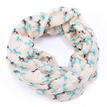 Horse infinity scarf winter foulard horses print bufandas mujer 2015 cavalo echarpe femme cape cheval brand loop scarves sciarpa(China)
