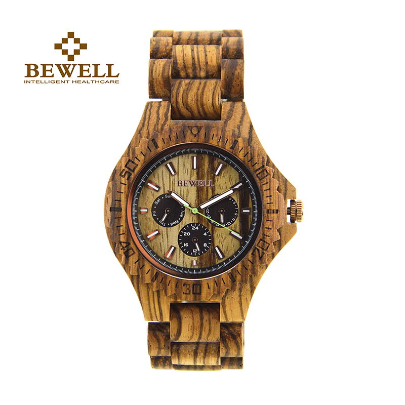 BEWELL Watches Mens Watches Wooden Clock Creative Watches Quartz Boxes Automated Mens Watches  Luxury Brand Bracelet 116B<br>