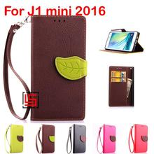 Fashion Leaf Clasp PU Leather Flip Wallet Stand Wallt Phone Cell Case Cover For Samsung Sumsang Galaxy J1 mini 2016 Green Brown