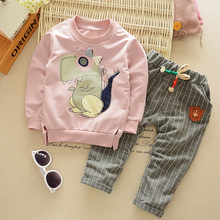 Autumn Winter Children's Cheap baby clothing set boys Girls suit Kids clothes cartoon dinosaur long sleeve sweatshirts+pants