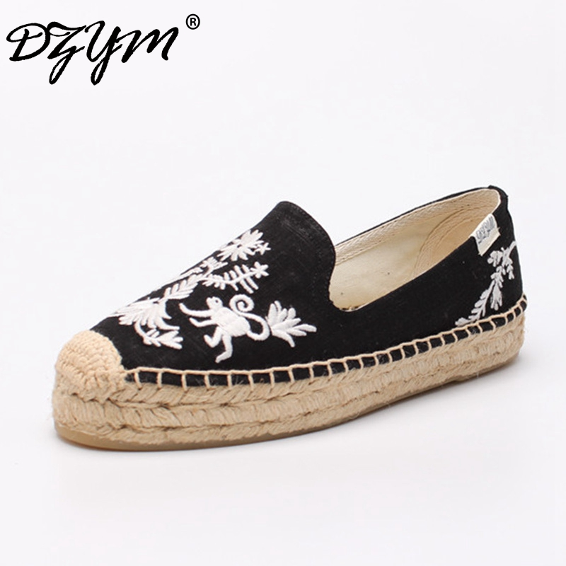 DZYM 2018 Spring Summer Pure Hand-made Embroider Canvas Flats Linen Hemp Women Loafers Comfortable Platforms Zapatos Mujer<br>