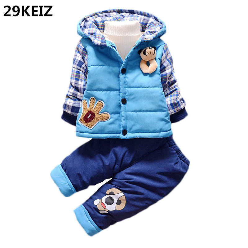 29KEIZ Children Clothing Set Baby Boy Parka Cartoon Cotton Red Hooded 1 2 3T Girls Boys Winter Jackets &amp; Pants Baby Outerwear<br>