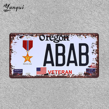 Oregon ABAB Veteran Metal License Plate Vintage Pub Car Motorcycle Number Classic Sign YQ078
