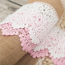 5Yards / Lot Width 9cm 100% Cotton Embroidered Lace Fabric , DIY Handmade Materials Lace Trim Free Shipping RS516(China)