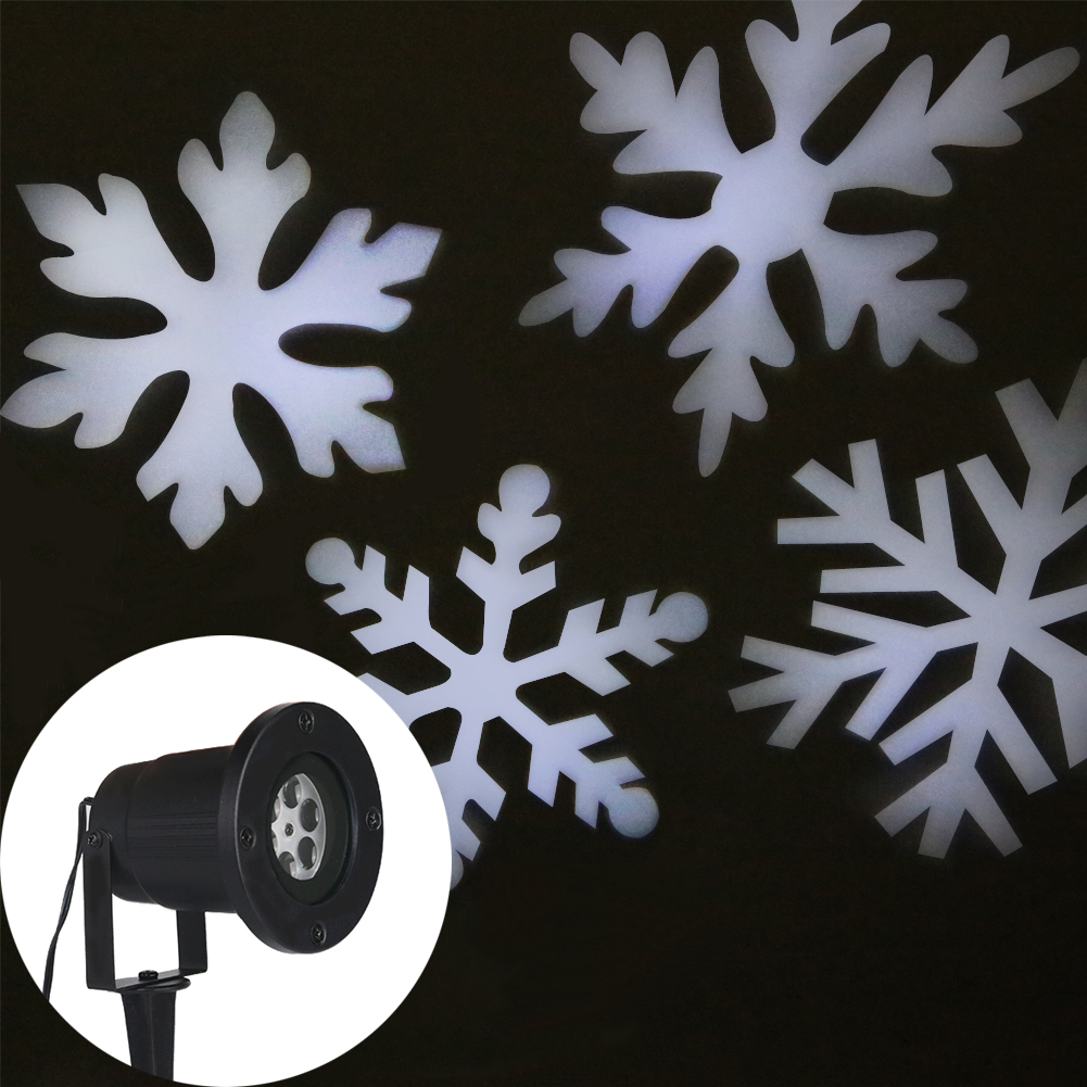 White Snowflake Projector Waterproof Outdoor Christmas Lights LED Stage Light Romantic Lawn Lamps for Home Decoration<br>