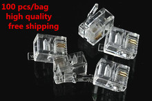 High Quality 100 Pcs 6P2C 2 Pins 2 Contacts RJ11 Telephone Modular Plug Jack Adsl RJ11 Connector