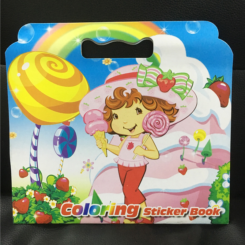 16 Page Strawberry girl coloring book sticker book children Adults Painting/Drawing/comic/cartoon colouring books for kids(China)