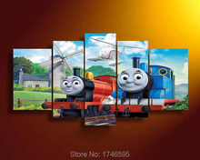 Big 5pcs modern home decor kids wall decor cartoonThomas train poster Wall Art Picture printed oil Painting Canvas print /PT0508