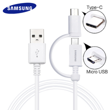 Samsung 2 in 1 USB Cable Micro USB & Type C Fast Charger Adapter Lightning Flash 1.5M Data Cable S 6 7 8 Original quick charge(China)