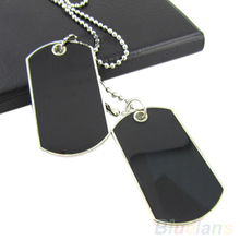 Army Tactical Style Black 2 Dog Tags Chain Beauty Mens Pendant Necklace for Men Jewelry 00HU