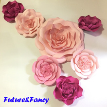 7pcs Pink Giant Paper Flowers for girl's party wedding decor or photo booth backdrop or Wedding backdrops