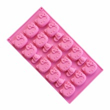 Wholesale/retail free shipping,1 PCS 15 hole hello kitty cat clay Cake Mold Jelly pudding KT Chocolate Mold A979