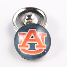 20Pcs/lot 2017 Football&Bestball Auburn Tigers College Snap Button 18mm Snaps Charms Fit Snaps Bracelets&Bangles