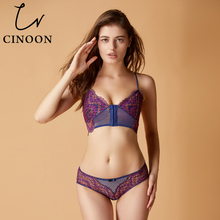 Buy CINOON Sexy Lingerie Front Buckle Underwear Thin Cup Bra Set Lace Brassier Panties Women Floral Lingerie Sets