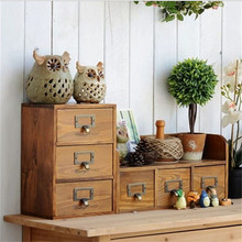 1PC 2016 Zakka grocery retro wooden three layer storage box with drawer cabinet old solid wood finishing storage cabinets
