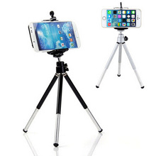 2016 Hot sale Mini 360 Degree Fashion Rotatable Stand Tripod Mount + Phone Holder Bracket Silver Color For iPhone