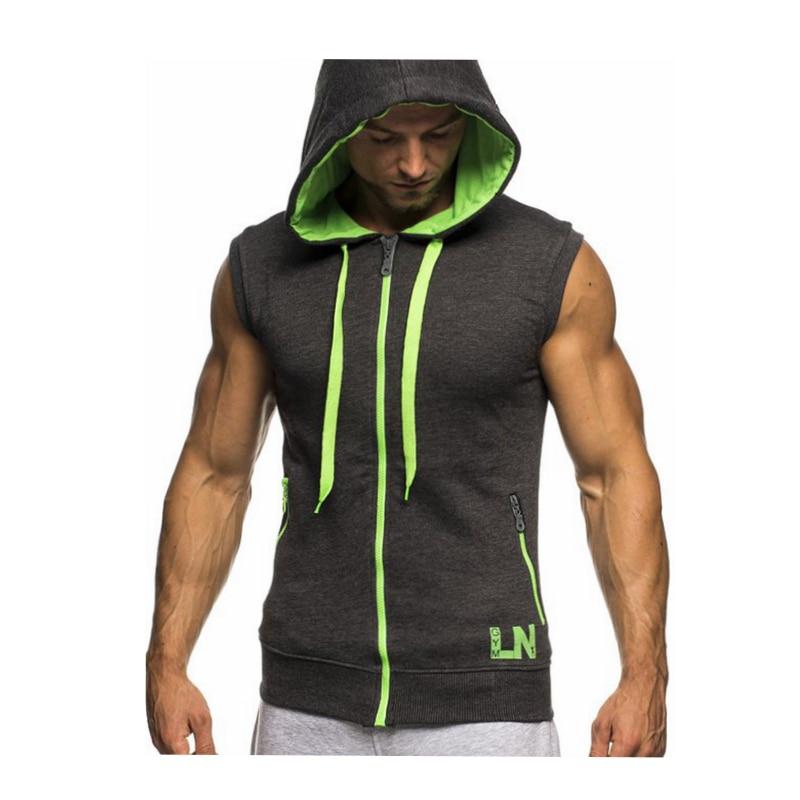 Male Bodybuilding Hoodies Fitness Clothes Hoody Cotton Hoodie Men Sweatshirts Men's Sleeveless Tank Tops Casual Vest 21