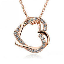NK677 Hot Collares New Minimalist Cross Love Heart Crystal Pendant Chain Clavicle Necklace For Women Jewelry Punk Girl Gift