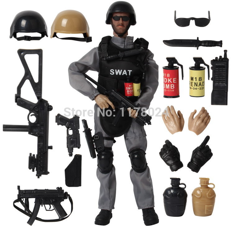 16PCS/SET Special Force Soldier Military Action Figure Dolls SWAT Soldier With Rifle Accessories Super System Kids Gifts Toys #E(China (Mainland))