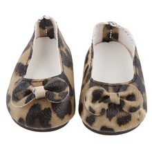 High Quality PU Beautiful Leopard Print Flats Shoes for 18 Inch American Girl Doll Clothes Great Birthday Gift Dolls Accessories(China)