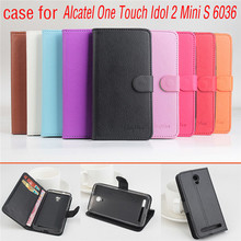 9 Color Litchi Texture Original Alcatel idol Z mini S 6036 Leather Case Flip Cover for Alcatel 6036A 6036D 6036 Phone Case Cover
