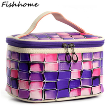Women Colour Plaid Big Cosmetic Bag Waterproof Professional Toiletry Kit Wash Necessaire Travel Organizer Make up Bags JXY01