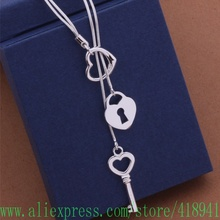 Free shipping silver plated Necklace,silver fashion jewelry Tai chi key necklace /encaneja boeakfla AN451(China)