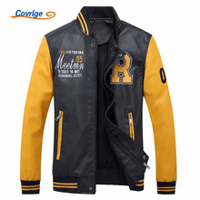 Covrlge Men's Motorcycle Leather Jacket 2017 New Youth Fashion Biker Jacket Letter Print Pilot Leather Jackets Overcoat MWP009