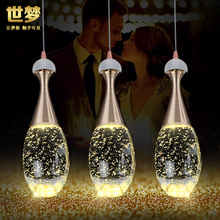 modern glass  bottle crystal bubble pendant light restaurant dinging room bar hanging lighting