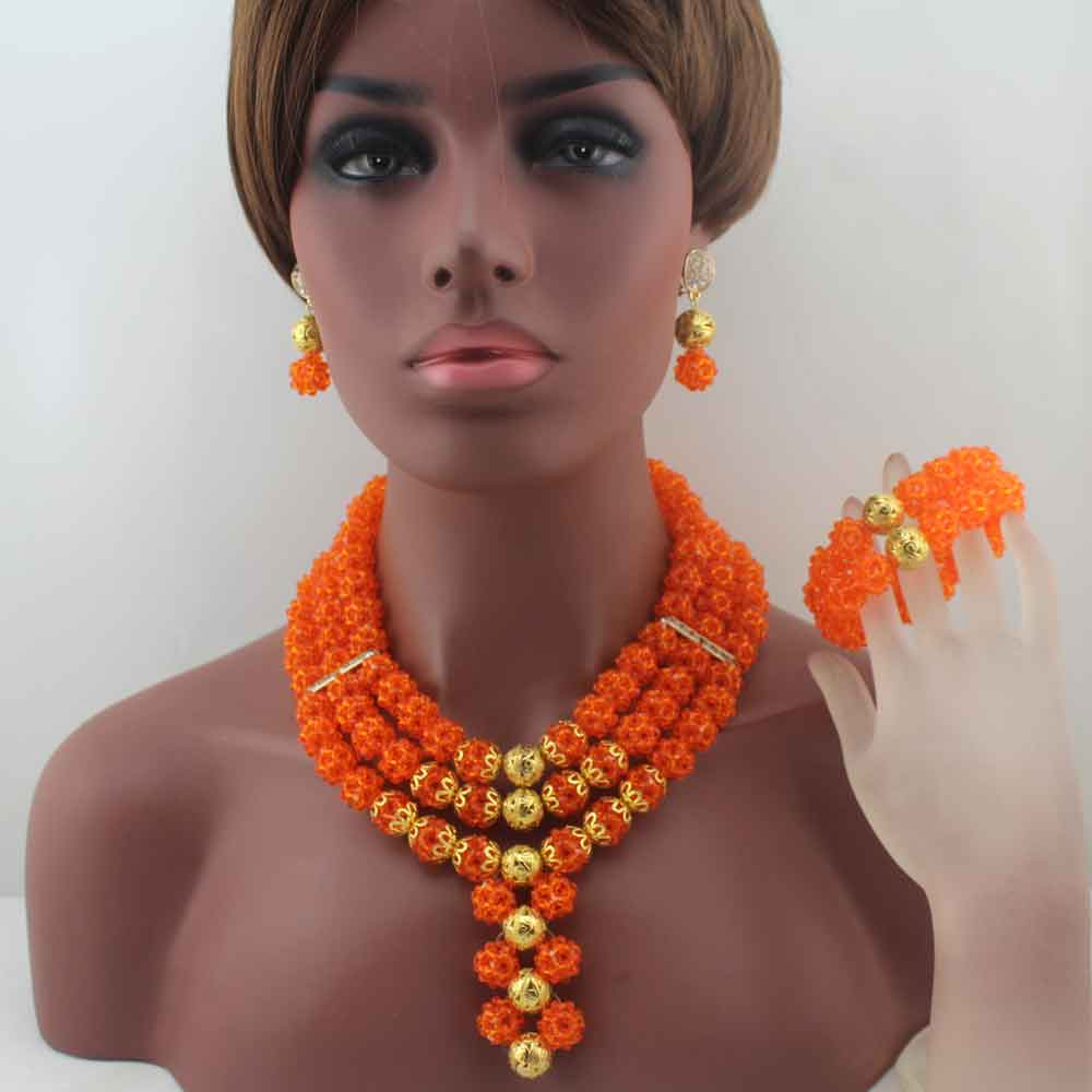 New Latest Nigerian Party  earrings Beads Women Choker Necklace Jewlery Set Orange Crystal African Jewelry Sets W14023