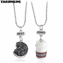 XIAOJINGLING Creative Necklace Oreo Cookie Coffee Bead Chain Necklaces Best Friends Gift Children Kids Friendship Jewelry 2pcs