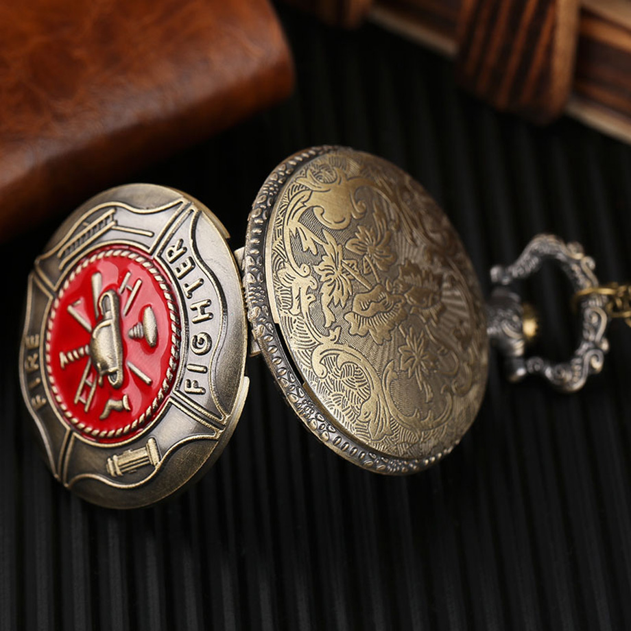 Pocket Watch Fire Fighter Red Pattern Full Bronze Quartz Watches Antique Unique Firefighter Men Women Gift With Bag 2017 (5)