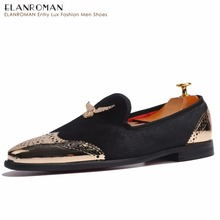 ELANROMAN Metal Top and Black Slip-on Men Shoes Fashion Men Velvet Loafers shoes Flats Casual Shoes Eagle Buckle Dress Shoes(China)