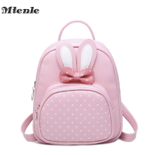 MTENLE Mini Small Backpacks For Teenage Girls Bunny Cute Backpack Women Leather Polka Dot Bow Back Bag Pink Mochila Feminina FI(China)
