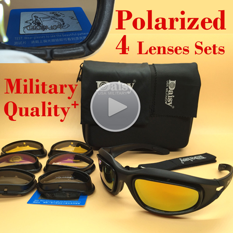 Original Quality Polarized Daisy C5 Army Goggles Military Sunglasses 4 Lens Mens Desert Storm War Game Tactical Sport Glasses<br><br>Aliexpress