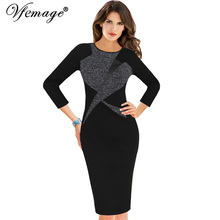 Vfemage Womens Autumn Winter Vintage 3/4 Sleeve Color-Blocked Contrast Patchwork Work Business Party Bodycon Pencil Dress 18325(China)