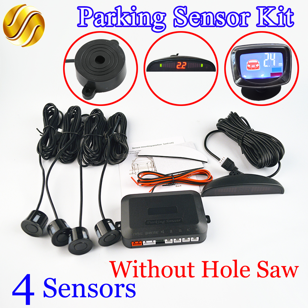 Car Parking Sensor Kit Hole Saw Buzzer / LED / LCD Display Backup Radar Monitor System 12V 8 Colors 4 Sensors 22mm