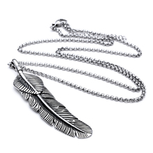 Mcllroy Necklace Necklaces & pendants feather Stainless steel Punk Link Chain Men Retro silver Pendent Statement necklace