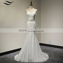 Pleat Bridal Wedding Gown Real Photos White Lace Cheap Mermaid Wedding Dress 2017 Vintage Sash Bride Dress vestido De noiva 2017